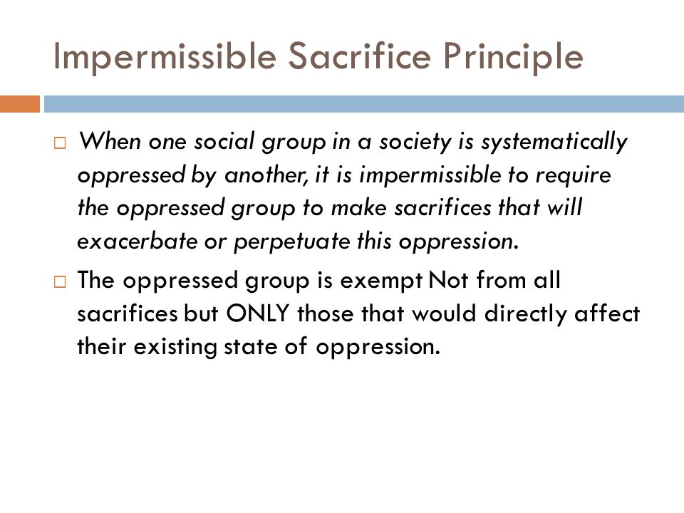 Impermissible Sacrifice Principle