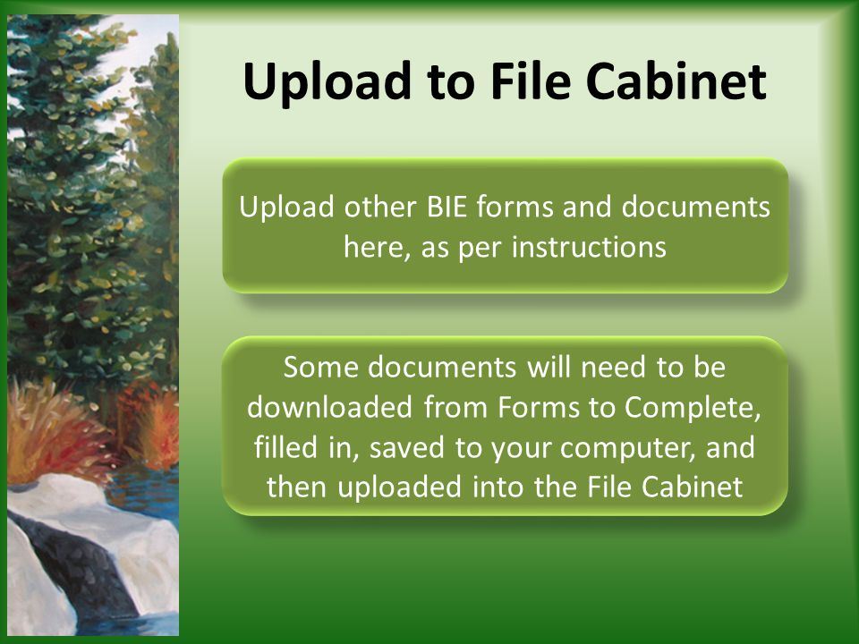 Upload other BIE forms and documents here, as per instructions