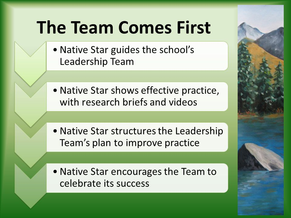 The Team Comes First Native Star guides the school's Leadership Team