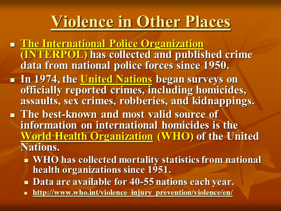 Violence in Other Places