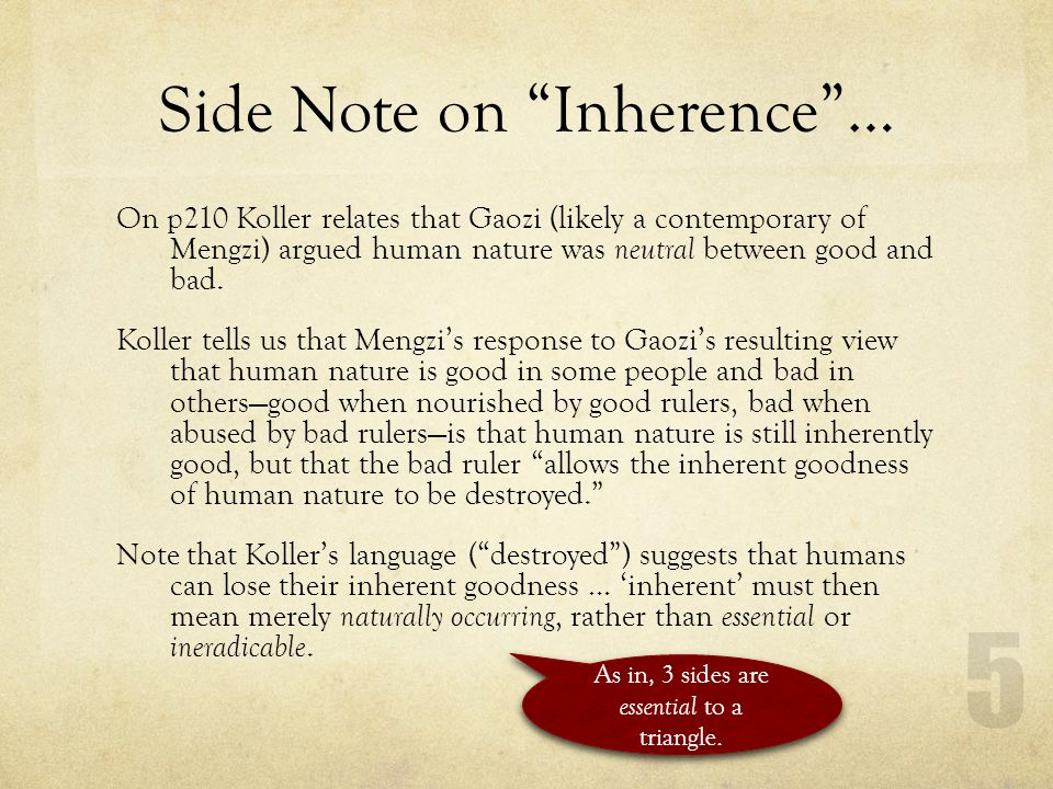 Side Note on Inherence …