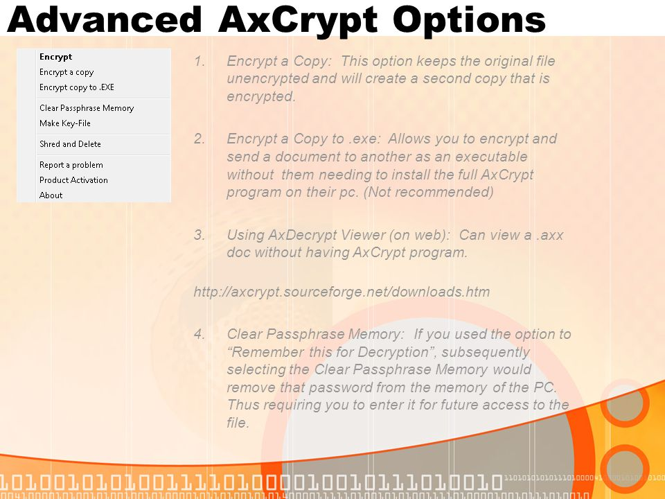 Advanced AxCrypt Options