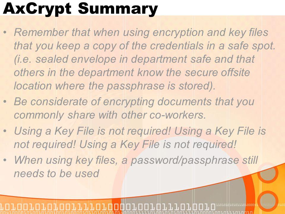 AxCrypt Summary
