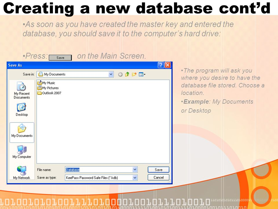 Creating a new database cont'd