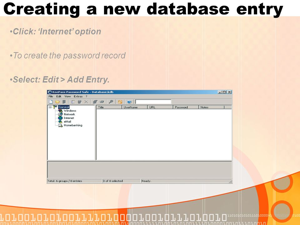 Creating a new database entry