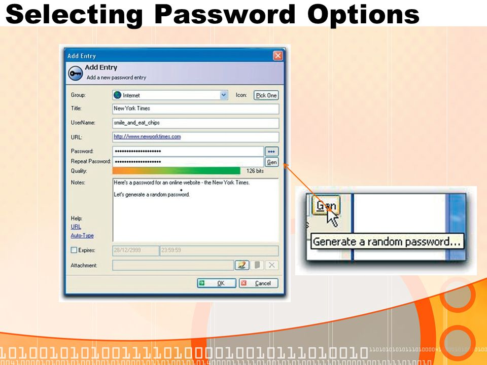Selecting Password Options