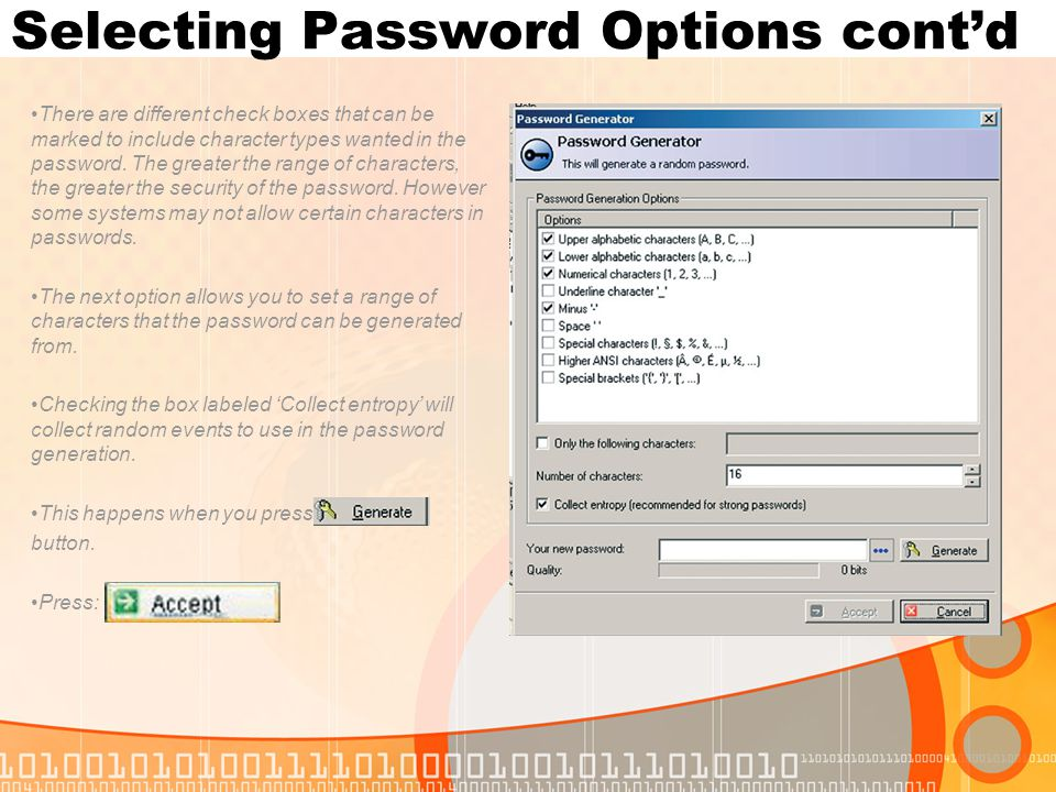 Selecting Password Options cont'd