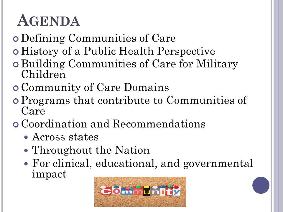 Agenda Defining Communities of Care