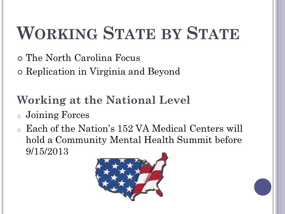 Working State by State Working at the National Level