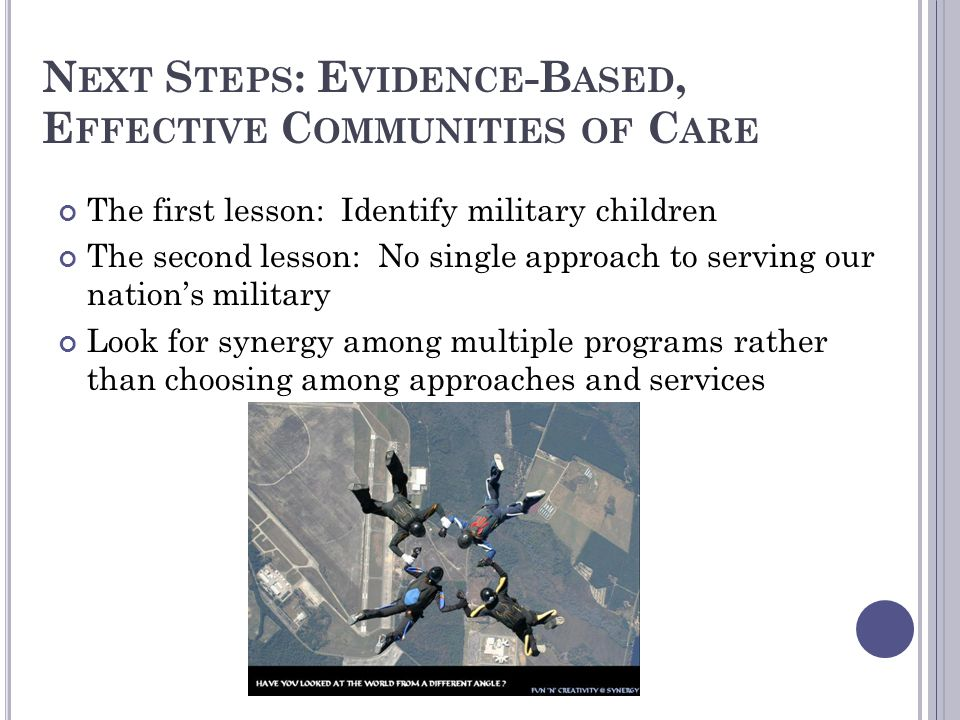 Next Steps: Evidence-Based, Effective Communities of Care