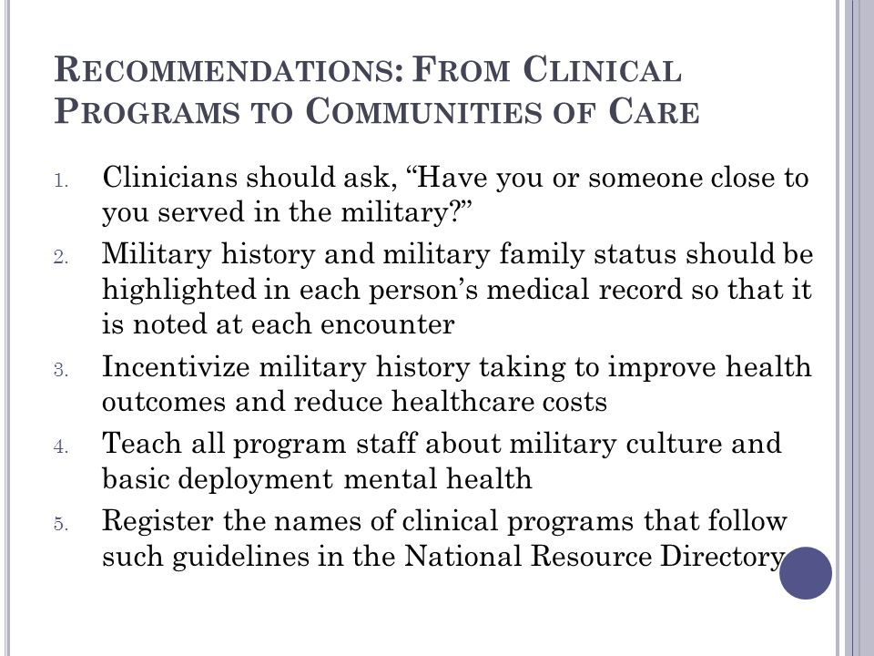 Recommendations: From Clinical Programs to Communities of Care