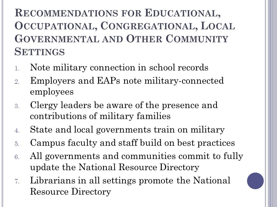 Recommendations for Educational, Occupational, Congregational, Local Governmental and Other Community Settings