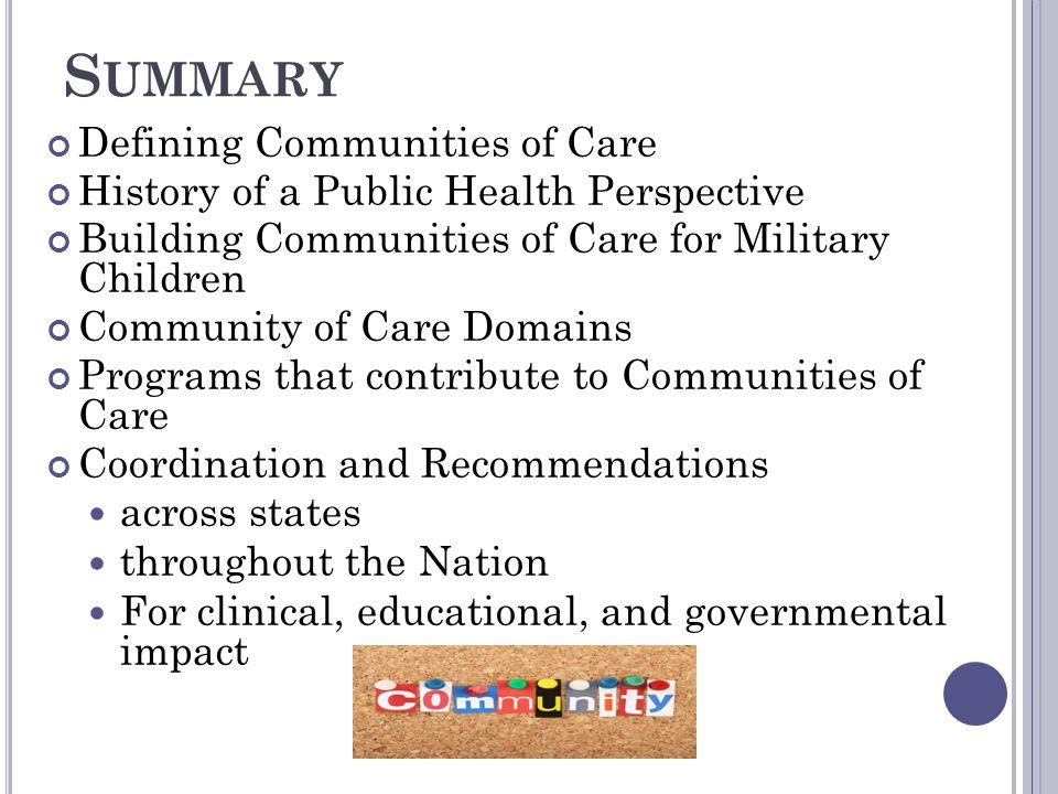 Summary Defining Communities of Care
