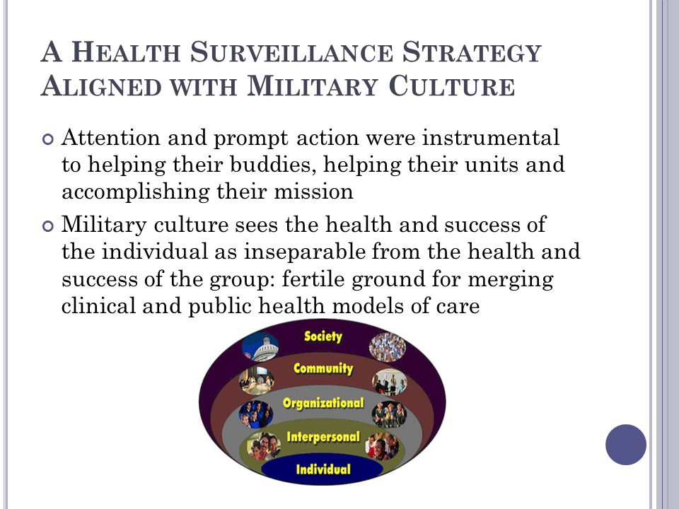 A Health Surveillance Strategy Aligned with Military Culture
