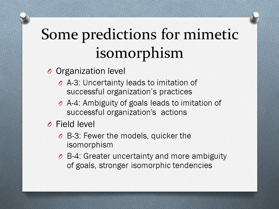 Some predictions for mimetic isomorphism