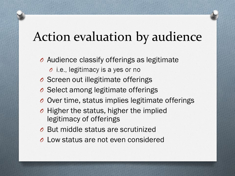 Action evaluation by audience