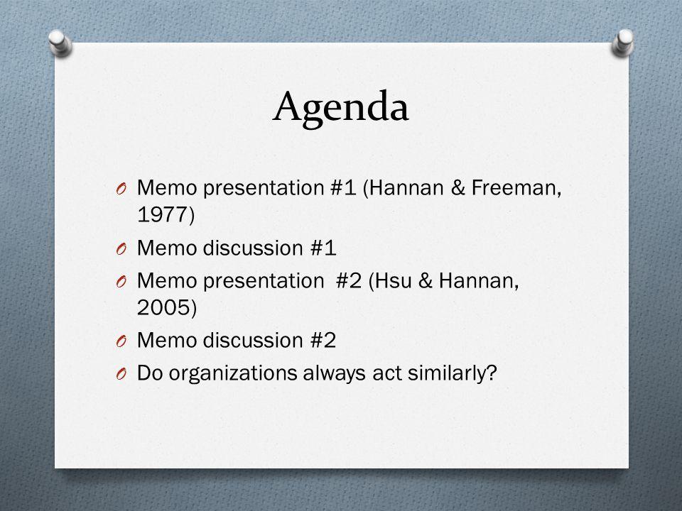 Agenda Memo presentation #1 (Hannan & Freeman, 1977)