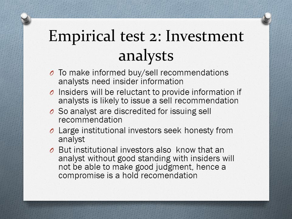 Empirical test 2: Investment analysts