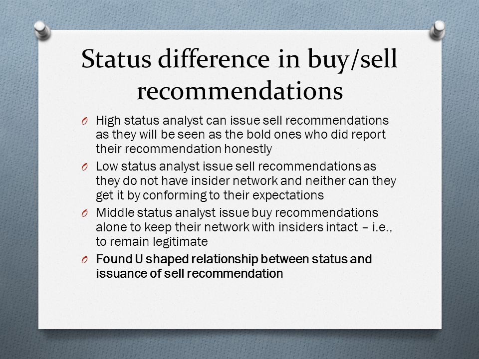 Status difference in buy/sell recommendations