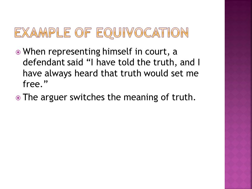 Example of Equivocation