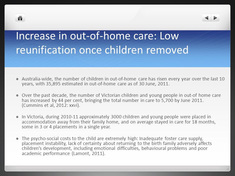 Increase in out-of-home care: Low reunification once children removed