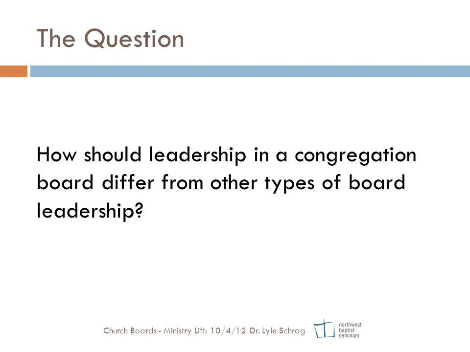 The Question How should leadership in a congregation board differ from other types of board leadership