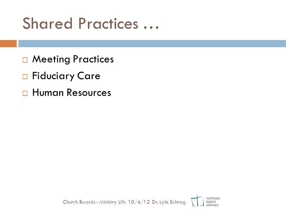 Shared Practices … Meeting Practices Fiduciary Care Human Resources