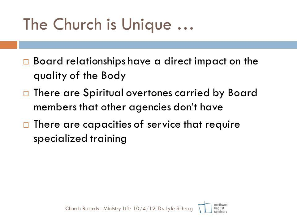 The Church is Unique … Board relationships have a direct impact on the quality of the Body.