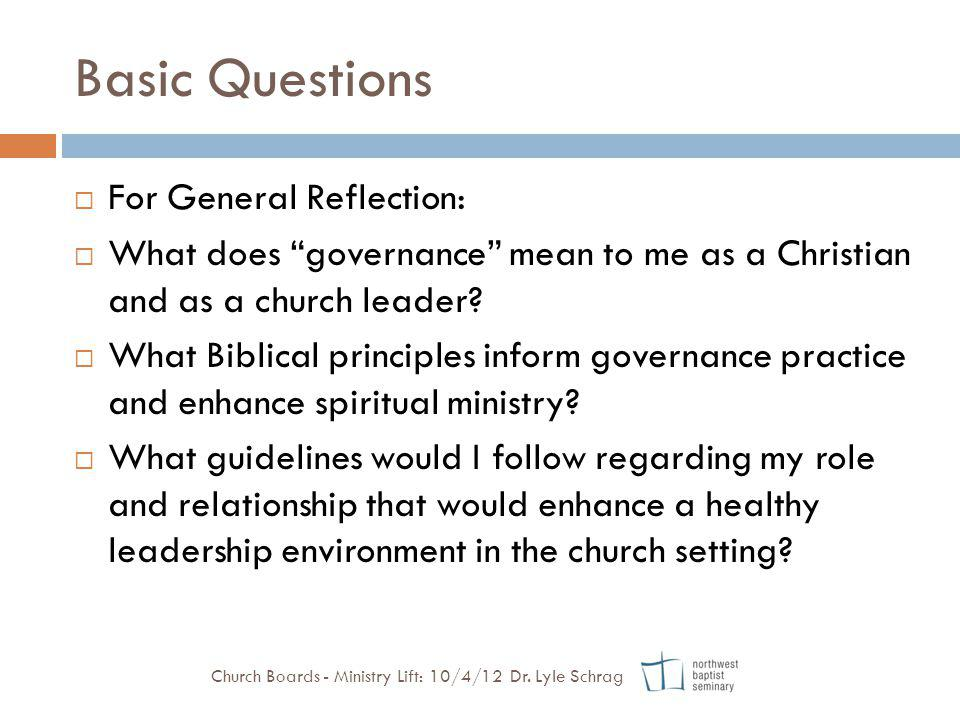 Basic Questions For General Reflection: