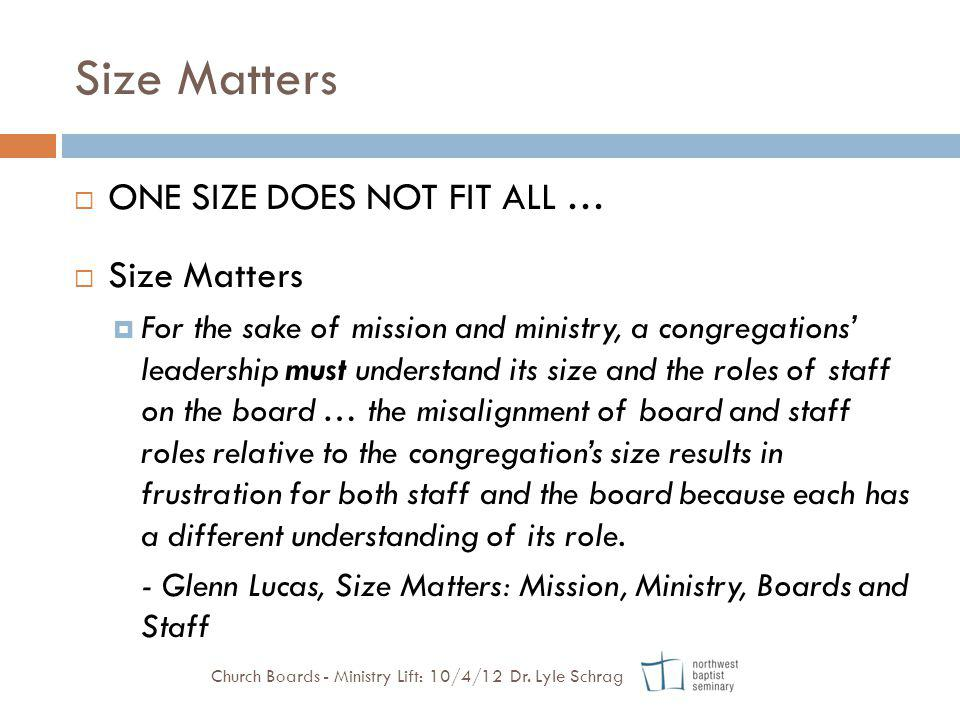 Size Matters ONE SIZE DOES NOT FIT ALL … Size Matters