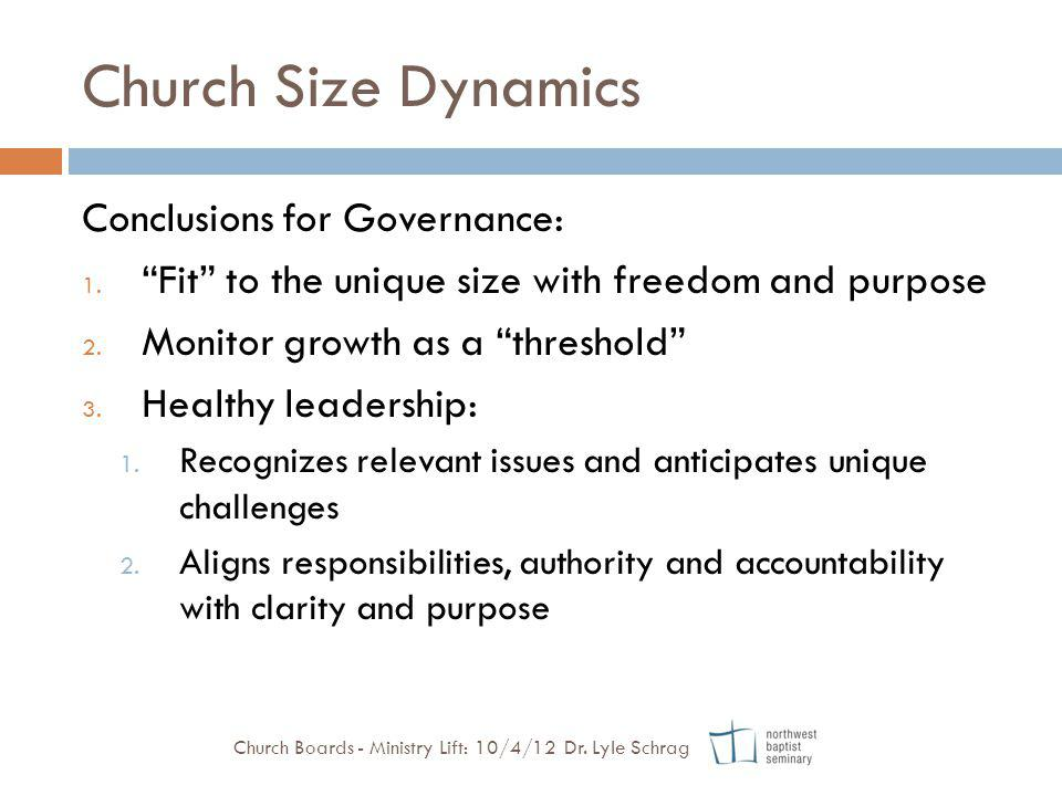 Church Size Dynamics Conclusions for Governance: