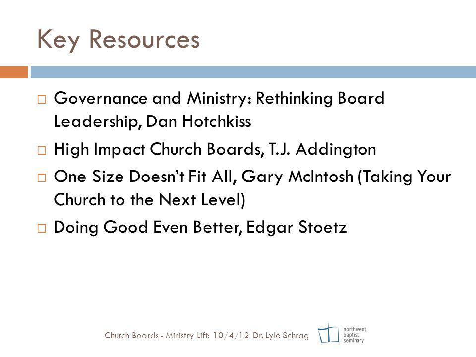 Key Resources Governance and Ministry: Rethinking Board Leadership, Dan Hotchkiss. High Impact Church Boards, T.J. Addington.