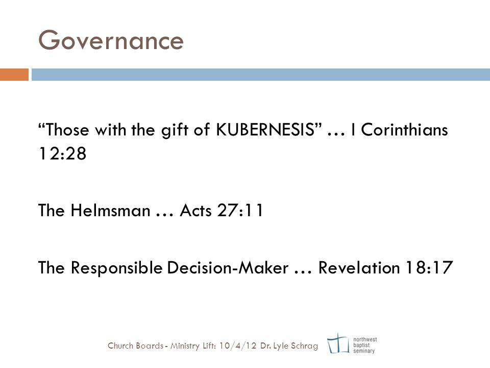 Governance Those with the gift of KUBERNESIS … I Corinthians 12:28 The Helmsman … Acts 27:11 The Responsible Decision-Maker … Revelation 18:17