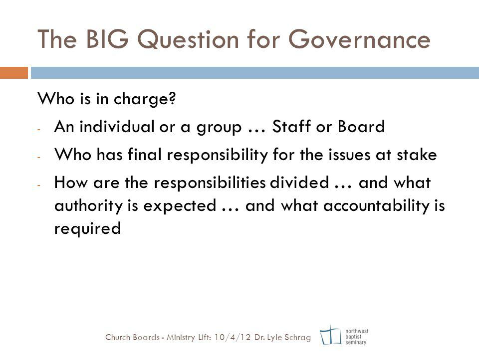 The BIG Question for Governance