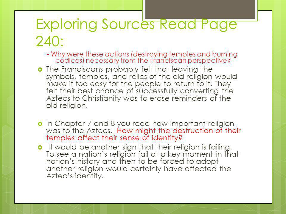 Exploring Sources Read Page 240: