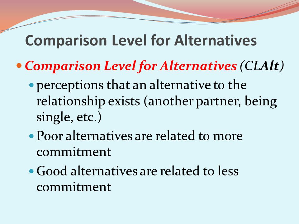 Comparison Level for Alternatives