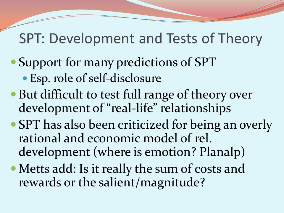 SPT: Development and Tests of Theory