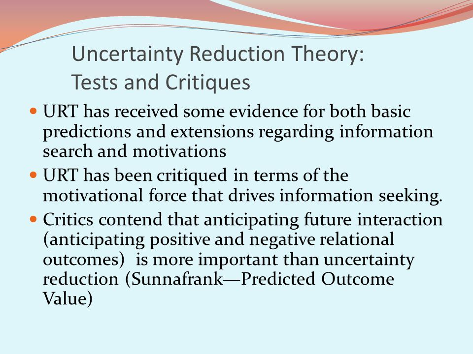 Uncertainty Reduction Theory: Tests and Critiques