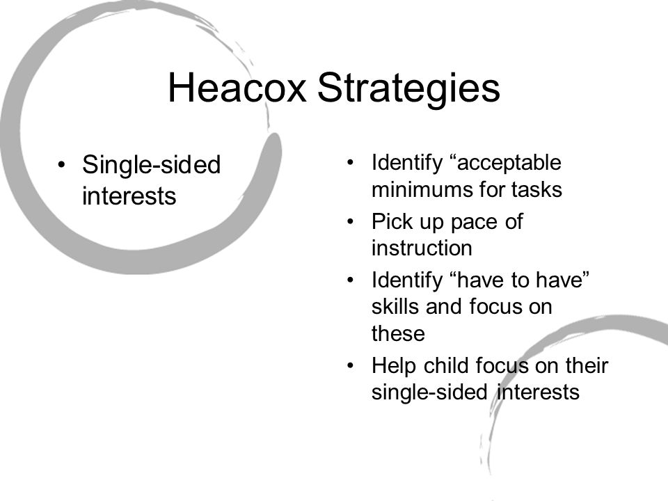 Heacox Strategies Single-sided interests