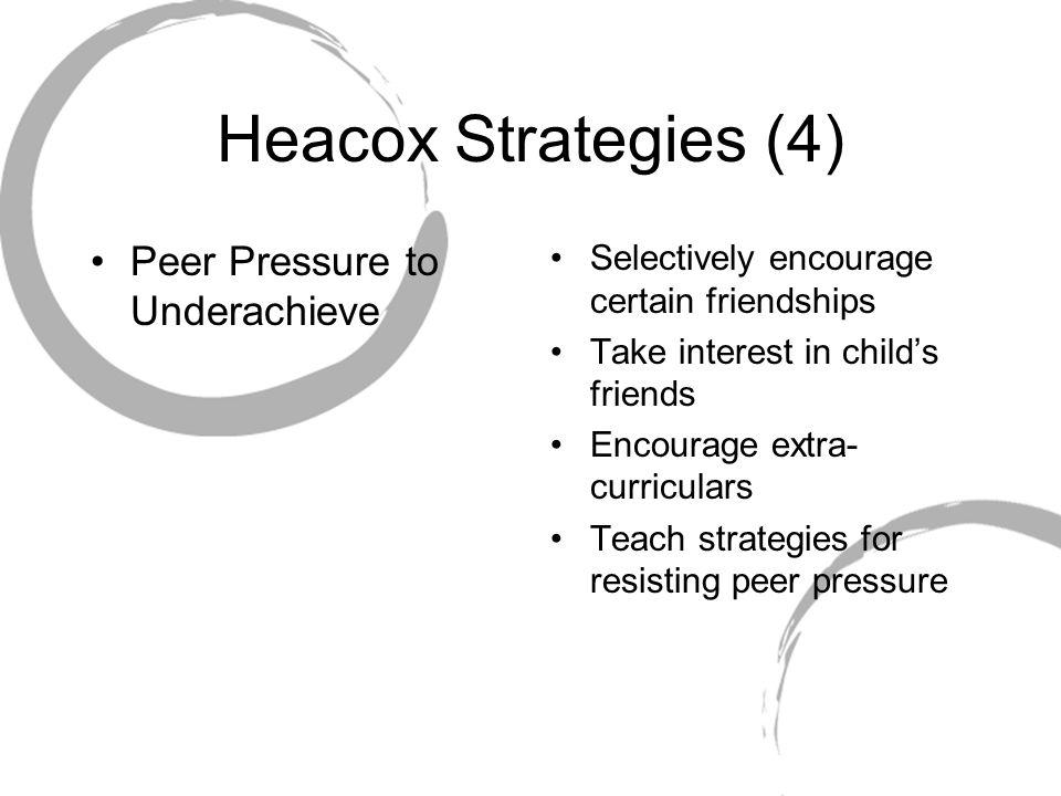 Heacox Strategies (4) Peer Pressure to Underachieve