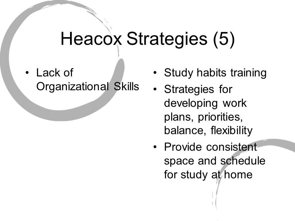 Heacox Strategies (5) Lack of Organizational Skills