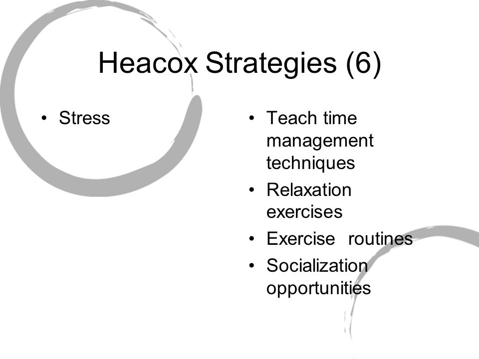 Heacox Strategies (6) Stress Teach time management techniques