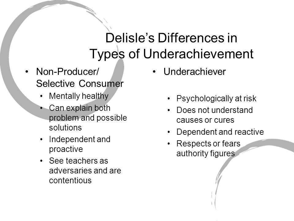 Delisle's Differences in Types of Underachievement