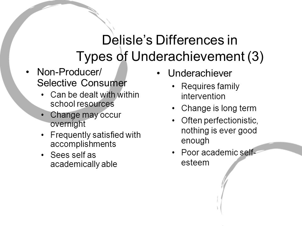 Delisle's Differences in Types of Underachievement (3)