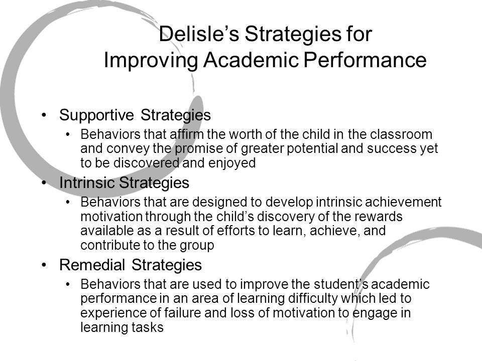 Delisle's Strategies for Improving Academic Performance