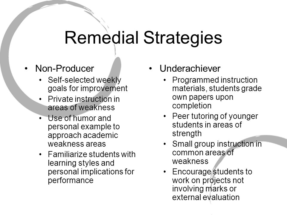 Remedial Strategies Non-Producer Underachiever