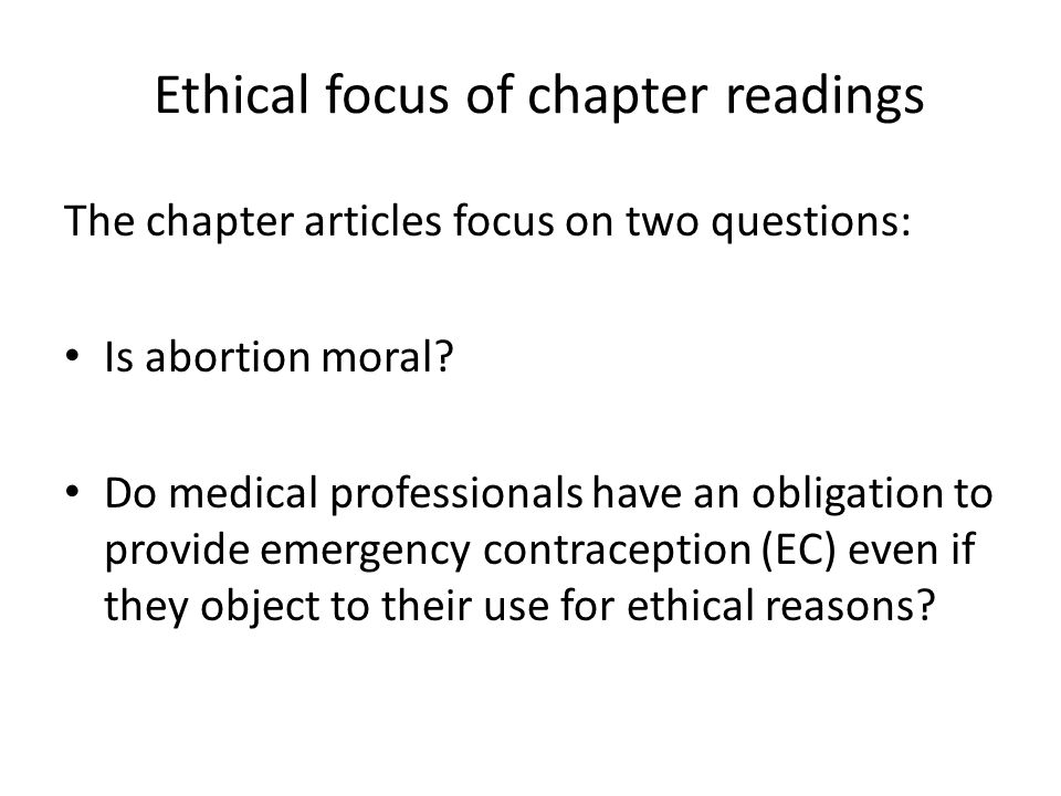 Ethical focus of chapter readings