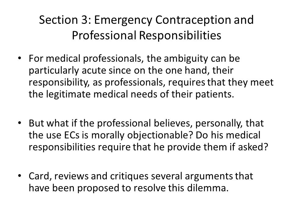 Section 3: Emergency Contraception and Professional Responsibilities