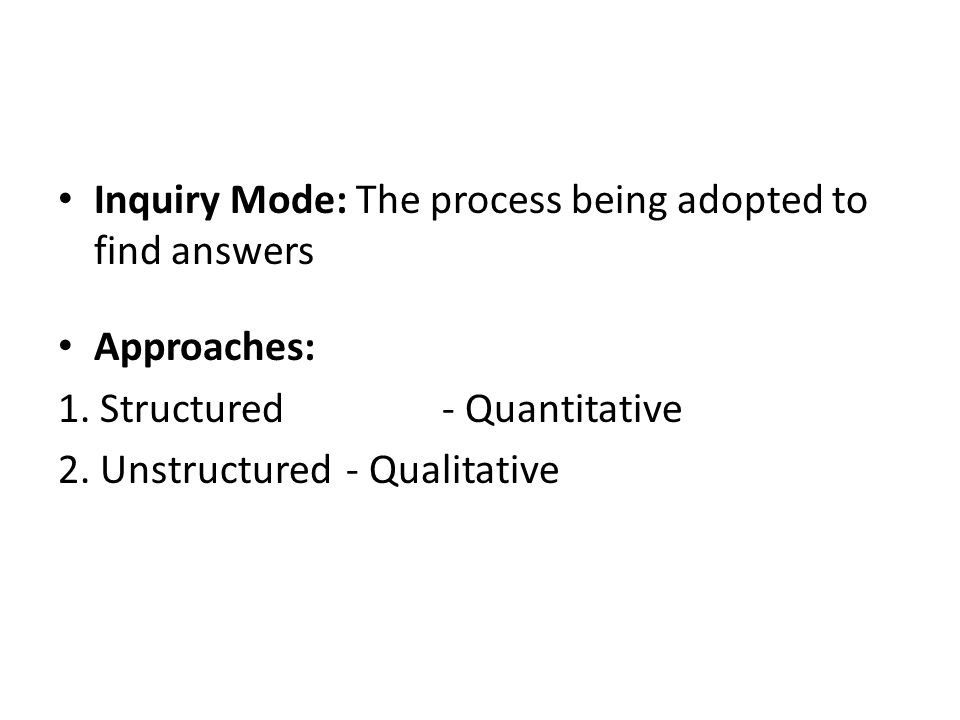 Inquiry Mode: The process being adopted to find answers