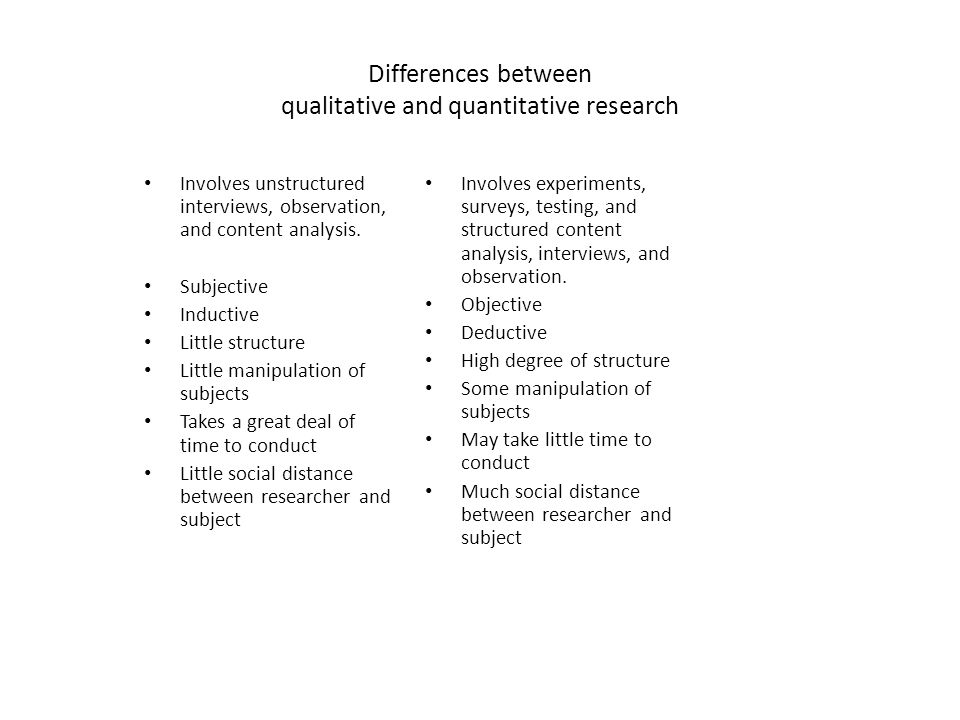 Differences between qualitative and quantitative research